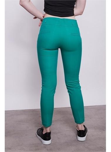 Jument Normal Bel Cepli Bilek Boy Ofis Likralı Kumaş Pantolon-K.Magenta Yeşil
